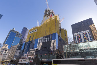 The Aurora Melbourne Central building under construction in 2017.
