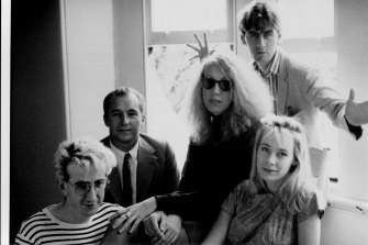 The Go-Betweens in 1988. Lindy Morrison is third from the left.