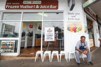 Mika Cohen outside his smoothie shop Sweet Byron. Business has been slow. Even in the school holidays, sales dropped and shoppers opted for lower price drinks.