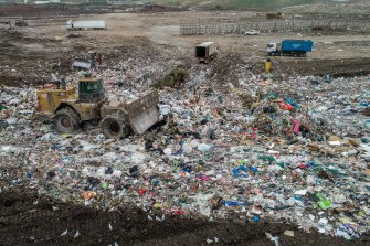 Garbage is processed at Melbourne Regional Landfill in Ravenhall.