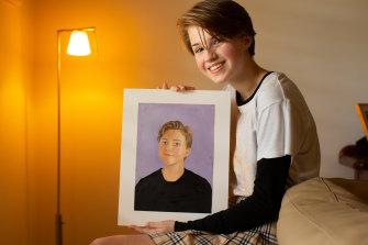 Juliette Bourne, 14, with her lockdown self-portrait.