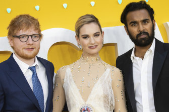 Ed Sheeran, Lily James and Himesh Patel on the promotional trail for Yesterday.