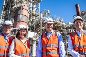 Politicians have been taking a keen interest in the survival of Viva Energy's Geelong refinery. (left to right) Viva's general manager refining, Dale Cooper, Victorian Senator Sarah Henderson, Energy and Emissions Reduction Minister Angus Taylor, and Viva chief executive Scott Wyatt in December 2020.
