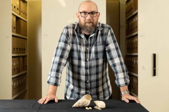 Dr Patrick Faulkner with some examples of African land snail shells.