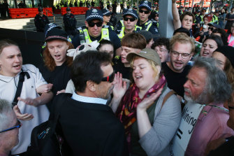 Protesters targeted conference delegates at the International Mining and Resources Conference in Melbourne, on Wednesday.