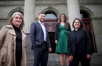 Greens councillors Amanda Stone (left), Edward Crossland, Sophie Wade and Gabrielle de Vietri outside Fitzroy Town Hall last year.