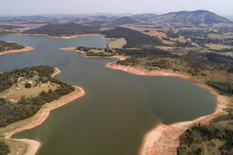 The Jaguari dam, which helps provide water to Sao Paulo, is running low during a drought considered the most severe in decades.