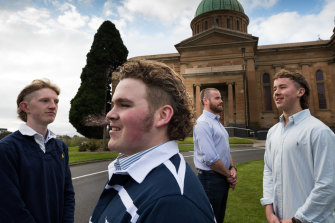 Xavier College students (from left) Ed Plunkett, Guss Gorman, Alex Smith and Nick Honeyman have raised $20,000 for the Black Dog Institute by growing mullets.