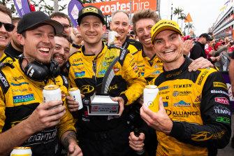 Tim Slade (right) will partner Supercars champion Scott McLaughlin in endurance events next season.