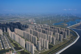 Apartment buildings at China Evergrande Group's Life in Venice real estate and tourism development in Qidong, Jiangsu province.