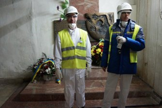 David Coulet (left) and Nicolas Caille at the Chernobyl Nuclear Power Plant in Ukraine.