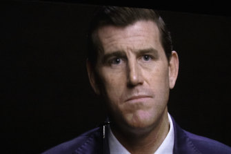 A projection of Ben Roberts-Smith during a War Memorial announcement.