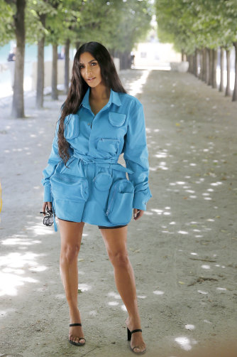 Kim Kardashian steps out in menswear in a piece from the Virgil Abloh range.