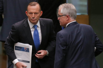 Then-Prime Minister Tony Abbott and Communications Minister Malcolm Turnbull on 14 September, 2015. Turnbull would oust Abbott as PM that night.