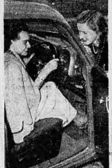 Mrs John Darymple at the wheel of the new Holden, with her sister-in-law, Miss June Darymple.