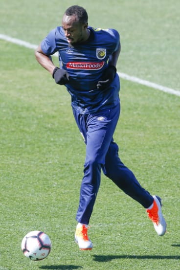 Big switch: Usain Bolt is trying to make it as a footballer on the Central Coast.