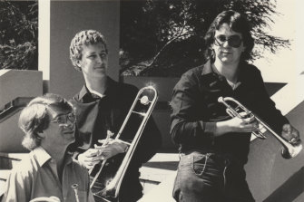 Scott Evans in his early years of what is now Orchestra Victoria. (from left) Richard Runnels, Scott Evans and Robert Smithies in 1982.