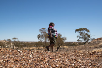Elisabeth Hunter, who joined a 1983 blockade to protect the Mutawintji rock art, took part in Wednesday's ceremony to expand the national park.