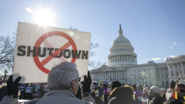 Demonstrators rally against the US government shutdown earlier this month.