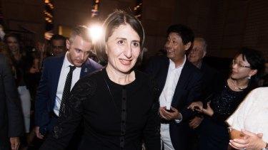NSW Premier Gladys Berejiklian arrives at the Sofitel Hotel.