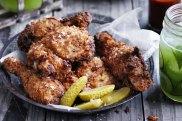 Sriracha-fried chicken and pickles recipe
