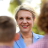 Deputy Federal Opposition Leader Tanya Plibersek (centre) chats to students during a visit to Marsden State school in Brisbane, Thursday, October 11, 2018. (AAP Image/Dan Peled) NO ARCHIVING