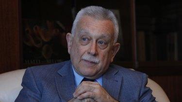 Russia's ambassador to Venezuela, Vladimir Zaemskiy, gives an interview in Caracas, Venezuela.