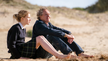 Geoffrey Rush as Mike Kingley and Morgana Davies as his granddaughter Madeline.