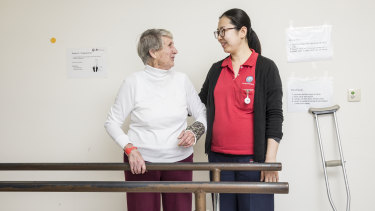 Phyllis Barry with her physiotherapist at Prince of Wales Hospital, Randwick, Sydney.