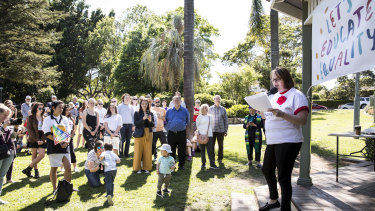 NSW Labor Candidate for Ku-ring-gai Amanda Keeling speaks at a Let's Educate Equality protest.