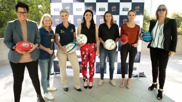 Rebecca Goddard, Katrina Powell, Beth Whaanga, Tal Karp, Heather Garriock, Sam Lane, and Carrie Graf at the AIS Talent Program launch in Canberra.