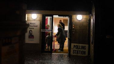 A dark evening at Saint Marys Church Polling Station in London.