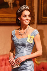 The Duchess of Cambridge wearing the Lover's Knot Tiara and her Garrard engagement ring.