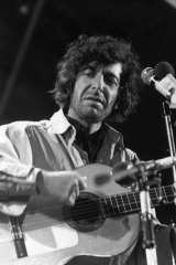 Leonard Cohen at the Isle of Wight festival in August 1970.