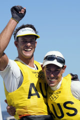 Will Ryan and Mathew Belcher celebebrate after winning gold in sailing.