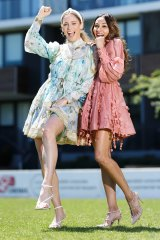 Models Rayne Bryant and Natasha Carlson wearing Zimmermann dresses from rental service The Volte ahead of Saturday's Everest Carnival.