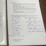 The signed document with the names of those protesting against the passing of the bill.