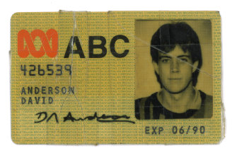 Anderson's first ABC staff card, issued in 1989.