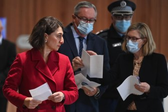 Premier Gladys Berejiklian, Health Minister Brad Hazzard, NSW Police Deputy Commissioner Gary Worboys and Chief Health Officer Dr Kerry Chant on Friday.