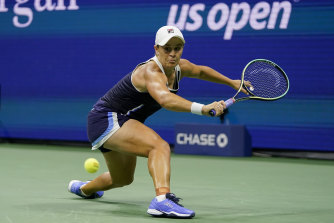 Ash Barty reaching for a backhand.