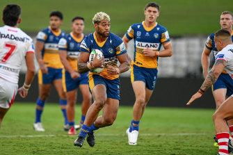 Parramatta Eels forward Makahesi in action.