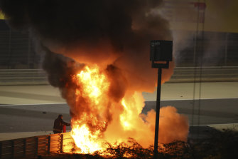 Romain Grosjean's car bursts into flames after a crash during the Bahrain Grand Prix on Sunday.
