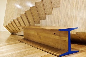 "McCusker's ""I-Beam"" bench, which was designed for the Tasmanian Museum and Art Gallery."