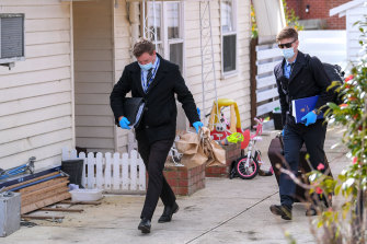 Police at the Blackburn North home on Tuesday.