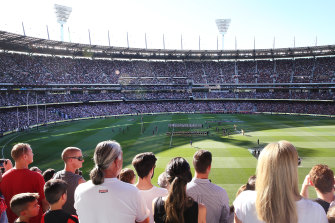A packed MCG for Anzac Day 2019.