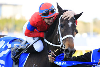 James McDonald shows Verry Elleegant some love after their Winx Stakes victory.