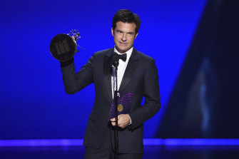 Jason Bateman accepts the award for outstanding directing for a drama series for Ozark.