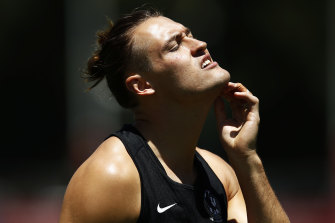 "Collingwood's Darcy Moore.  ""We are going to champion that change.″⁣"