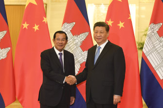 Cambodian Prime Minister Hun Sen, left, met with Chinese President Xi Jinping in Beijing in April, 2019.