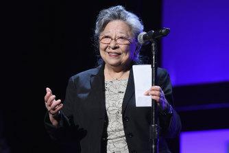 Hiroshima survivor Koko Kondo is honoured at the Tribeca Film Festival in New York City in 2018.